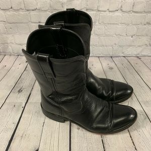 Mens 8.5D Old West Black Leather Cowboy Boots